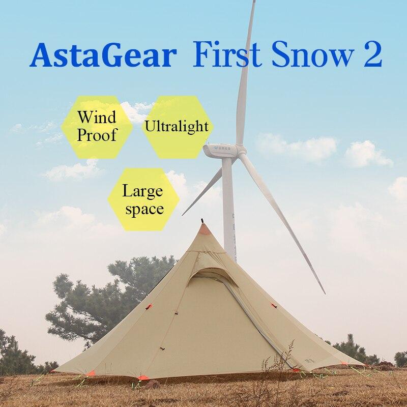 ASTAGEAR finst snow 2 side 20D silnylon ultraléger ASTA pyramide extérieur 1/2 personne 2 couche 3 saisons camping tente