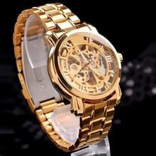 Новый 2015 Горячая Полые Золотые Часы self-ветер Автоматические Часы Известный MCE Relogios Стальной браслет Часы Класса Люкс Мужчины наручные часы