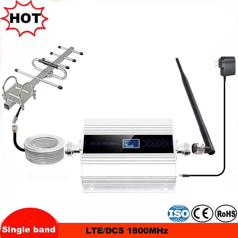 Fullset DCS 1800MHZ GSM 1800 2g 4g LTE Cell Phone Signal Repeater Booster Mobile Phone Signal Amplifier + Indoor Outdoor Antenna