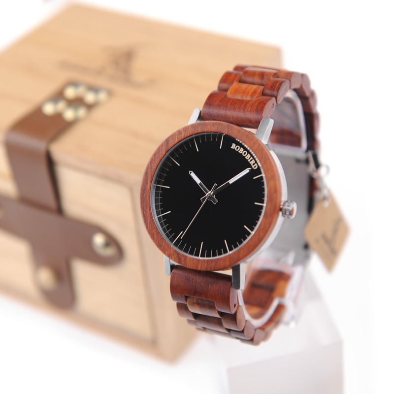 2017 Luxury Brand BOBO BIRD Men Watches All Wooden Quartz Wristwatch With Wooden Box relogio masculino B-M16 bobo bird luxury designer watches men style wooden watch wood strap wristwatch with paper gift box relogio masculino brand top