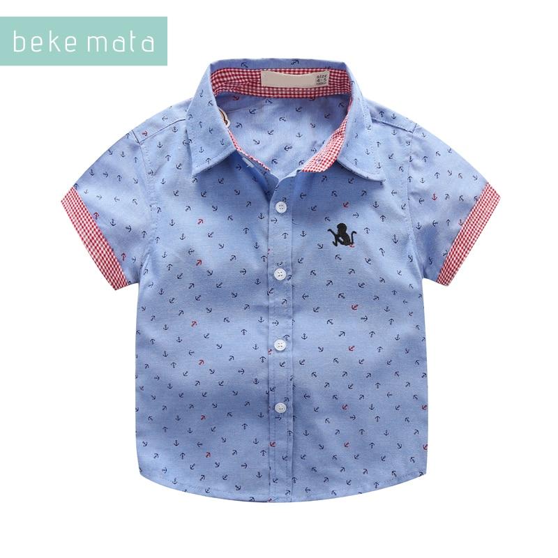 BEKE MATA niños camisas de verano de 2018 Casual de manga corta de impresión de ancla camisas para niños 3-11 años nueva ropa de los niños