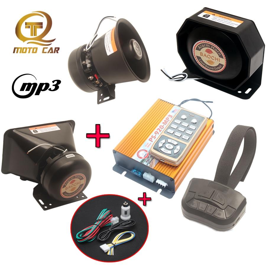 Universal Auto Veículo MP3 Fogo Polícia Sirene Tom Multi Megafone Alarme Sonoro de Advertência 12V para Carro Caminhão Buzina de Trem PA Sistema de MICROFONE