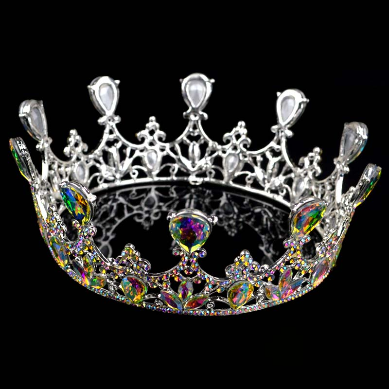 New Silver Crystal Round Big Crown headdress For Women Bride tiara Hair Accessories Party Queen Wedding Tiaras Crowns T-701 03 red gold bride wedding hair tiaras ancient chinese empress hat bride hair piece