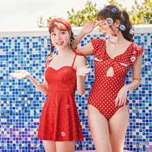 цена на 2019 New arrival Red Dot print Pleated skirt swimsuit high quality Women Swimwear lovely One piece suit women bathing suits