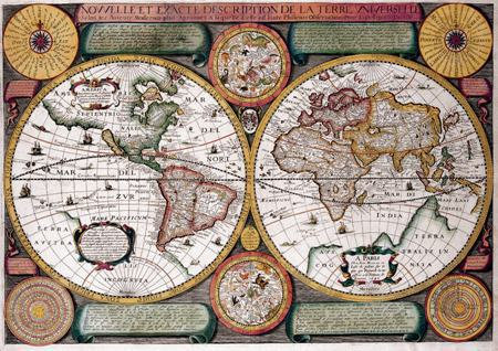 Print picture EARTH MAP On The Lord of wall decor art Vintage
