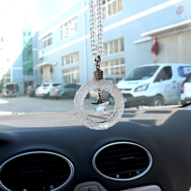 Crystal Star Auto Rear View Mirror Decoration Hanging Pendant Car Ornament