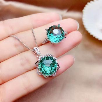 classic sparkling green crystal ring and necklace girl silver fine ornament fireworks bright color good cut  party banquet gift