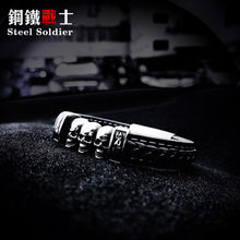 Steel soldier THREE skull punk man bangle bracelet fashion leather gothic jewelry(China)