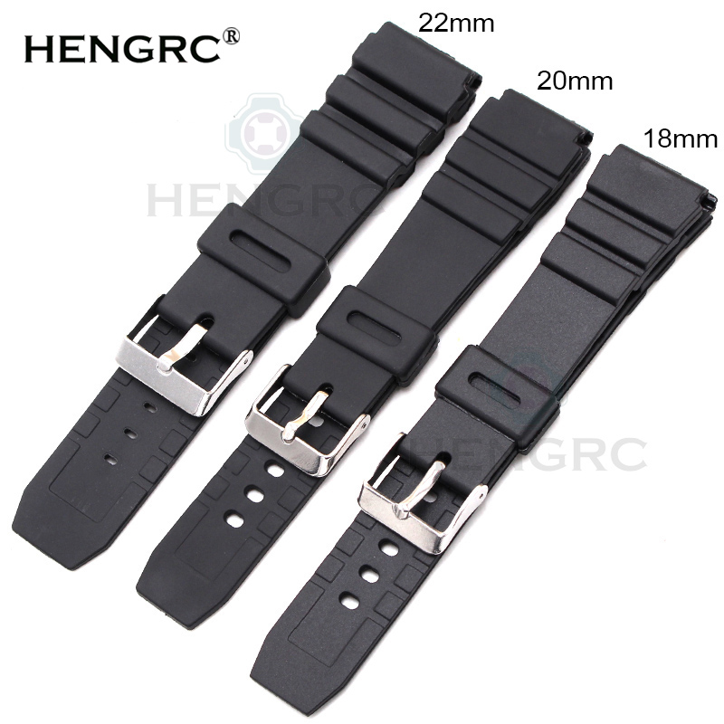 HENGRC Rubber Watchbands 18 20 22mm Men Sport Diving Silikon Watch Band Strap With Silver Steel Metal Pin Spenn For Casio