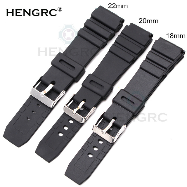 HENGRC Rubber Watchbands 18 20 22mm Men Sport Diving Silicone Watch Band Strap W