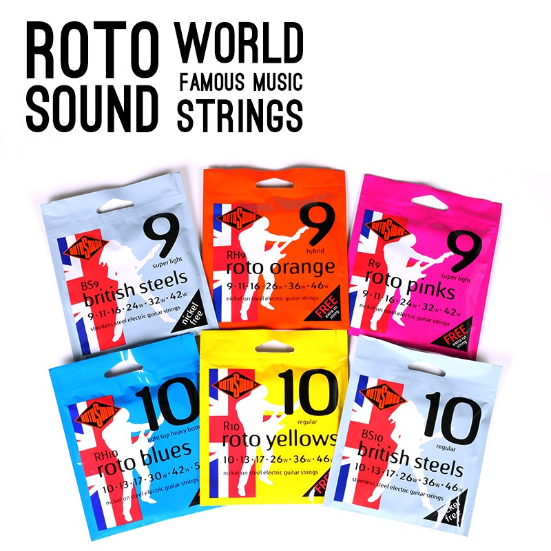 Rotosound R8 R9 R10 RH9 RH10 Nickel on Steel Electric Strings / British Steels BS9 BS10 Stainless Steel Electric Guitar Strings rotosound rs66lb bass strings stainless steel