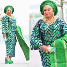 Lace-Fabric ST180 African Stones Sequins French Green Double-Organza with Fashion Online