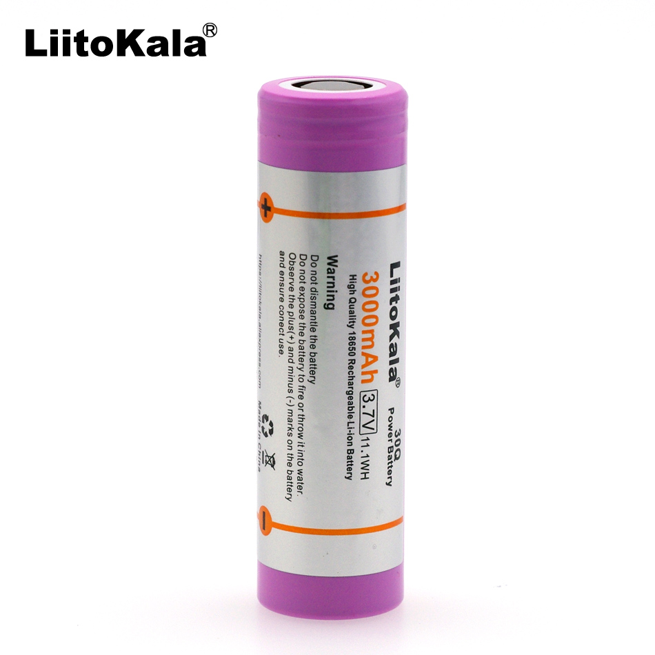 Liitokala 100% Original 18650 3.7V 3000mAh 30Q Rechargeable battery Max 20A discharge For E-Cigarette batteries