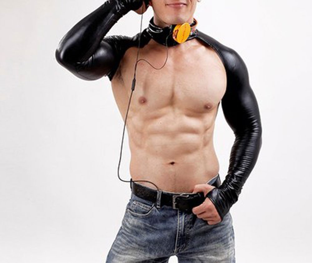 Men Leather Tight Backless Club wear