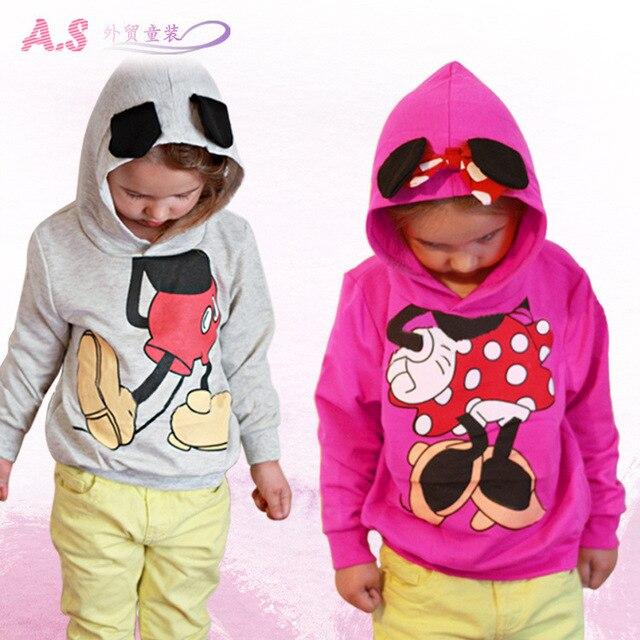 Детей свитер с длинными рукавами футболка девочка мальчик мультфильм микки толстовки кофты дети детская одежда отдых верхняя одежда пальто