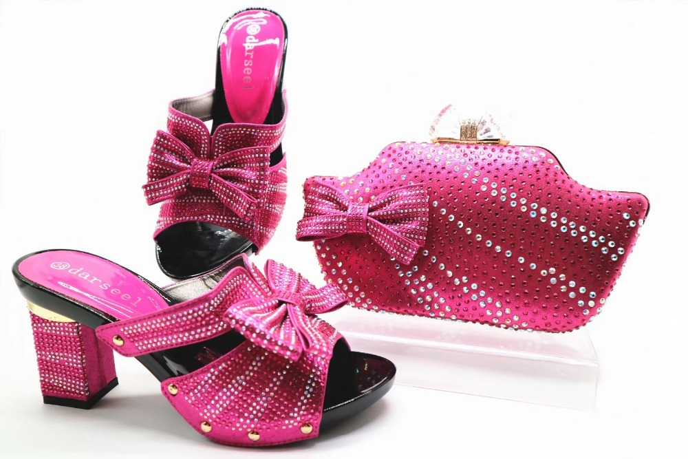 Fushia hot pink women shoes with matching evening clutches bag newest 2018 italian shoes and bag in medium heel SB8110-5 cd158 1 free shipping hot sale fashion design shoes and matching bag with glitter item in black