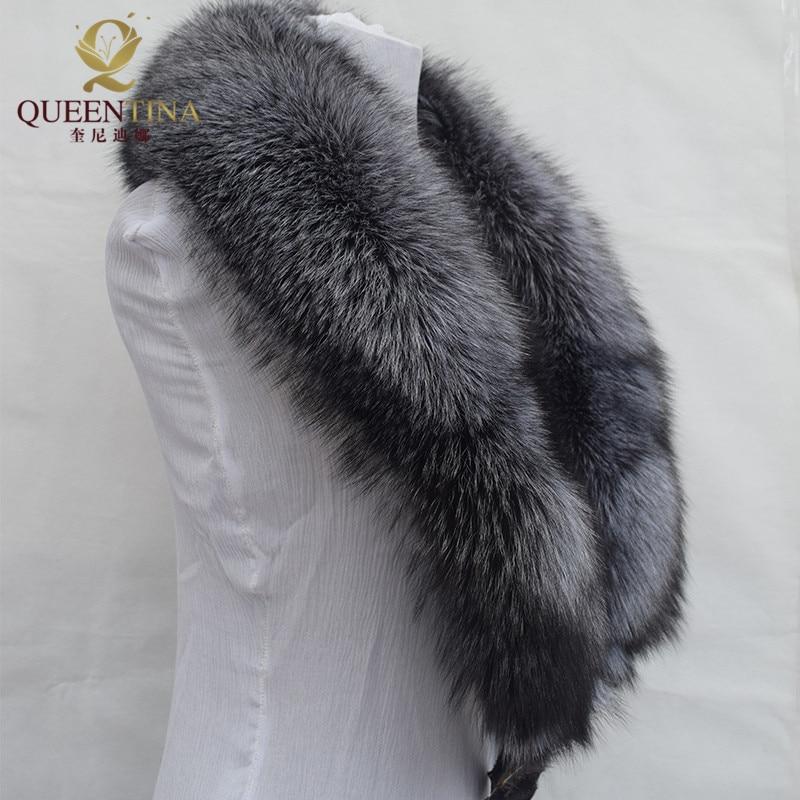 Neue 100% Natürliche Pelzkragen Luxus Silber Fuchs