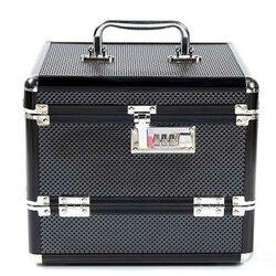 Caja de maquillaje de aleación de aluminio profesional de gran venta caja de maquillaje caja de joyería bloqueable de múltiples niveles