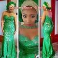 Estilo Nigeriano Robe De Soirée Vestidos de Noche Con Cuentas Frente Más del Tamaño de división Africana Del Cordón Verde de Las Mujeres Formal de Los Vestidos de 2017 nueva
