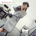 2016 New Arrival Women's Autumn Clothes Knitting Striped Solid Pullover Top And Elastic Skirt Set Female Casual Suit 2 Colors In
