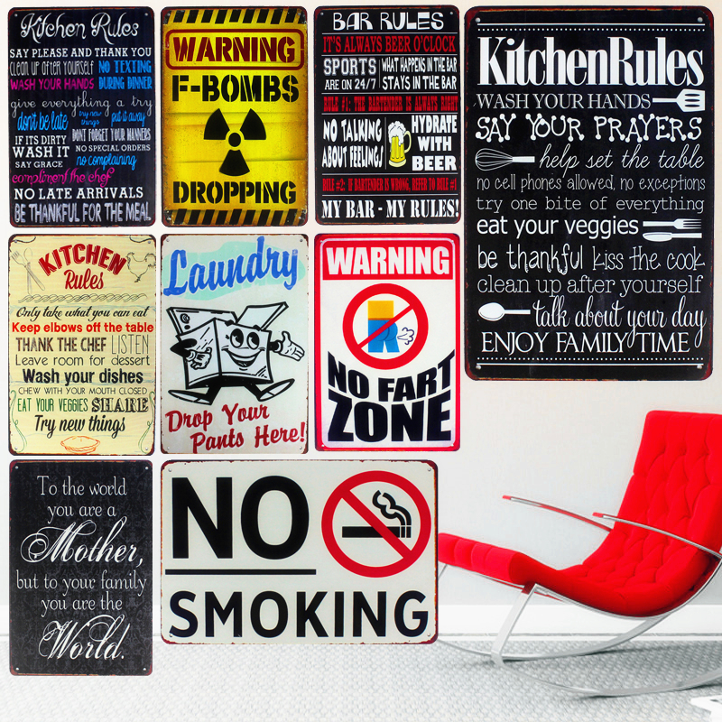 NO FART ZONE Vintage Wall Stickers Metal Tin Signs Art
