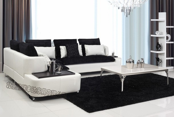 Combination Between Modern Fashion Minimalist Leather Sofa Fabric Arts New Special Model Of Stainless Steel Furniture