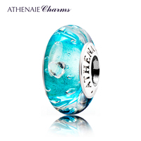 ATHENAIE Genuine Murano Glass 925 Silver Core Effervescence Clear Heart CZ Charms Bead Fit European Bracelets