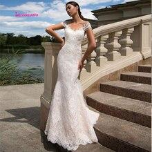 LEIYINXIANGSheer Sweetheart Illusion Back Vintage Lace Wedding Dress 2019 White Court Train Marriage Mermaid Dresses