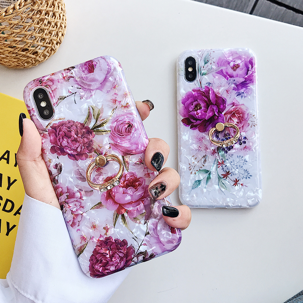 LOVECOM Retro Floral Ring Stand Phone Case For iPhone Models 39
