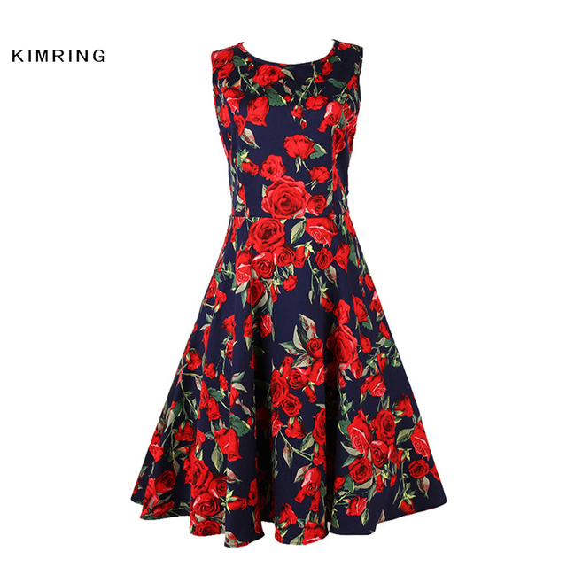 Kimring Summer Dress Plus Size Hepburn Style Women Elegant Rose Floral Valentine's Dress Rockabilly Swing Dress Vestidos