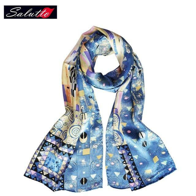 Salutto 100% Silk Scarf Women Van Gogh Painting High Quality Brand Fashion Paragraph Shawl Shawls Marcas Bufandas Cachecol