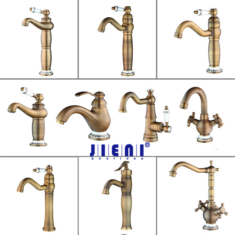 JIENI Antique Brass Counter Top Bathroom Faucet Wash Basin Tap Swivel Single Handle Hot and Cold