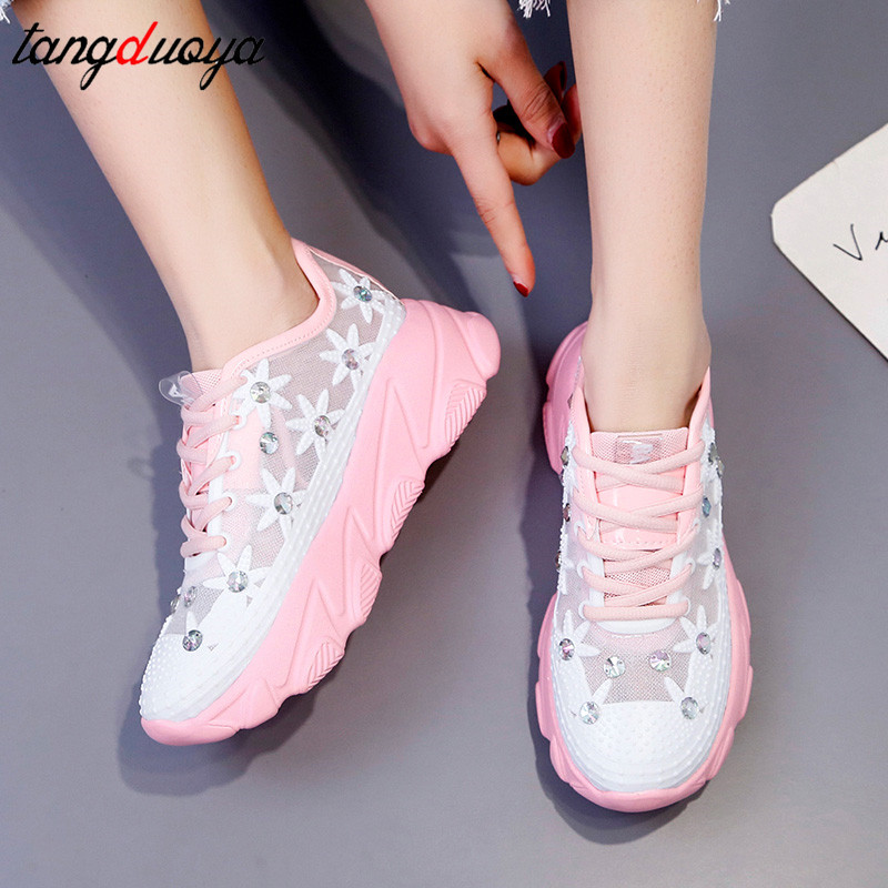 Crystal Women Shoes Platform Sneakers Women Casual Shoes Breathable Mesh Trainers Ladies Platform Shoes Tenis Feminino 35 41