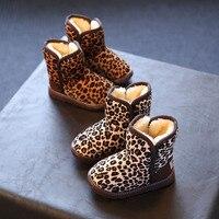 Children Leopard Shoes Kids Toddler Girl Fur Snow Boot Winter Boots Children Shoes Girls Sneakers Warm