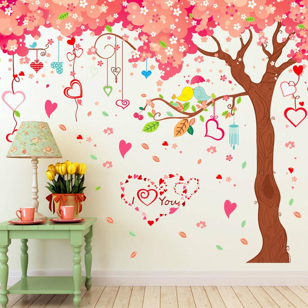 Extra Large Cherry Tree Flower Wall Stickers DIY TV/Sofa Background Home  Mural Bedroom Living Part 63
