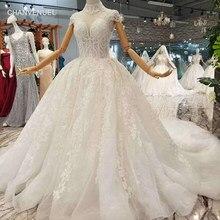 788855bd38 LSS068 elegancki księżniczka piękna suknia ślubna wysoka neck rękawy cap  sexy backless długa suknia ślubna pociąg prawdziwa cena.