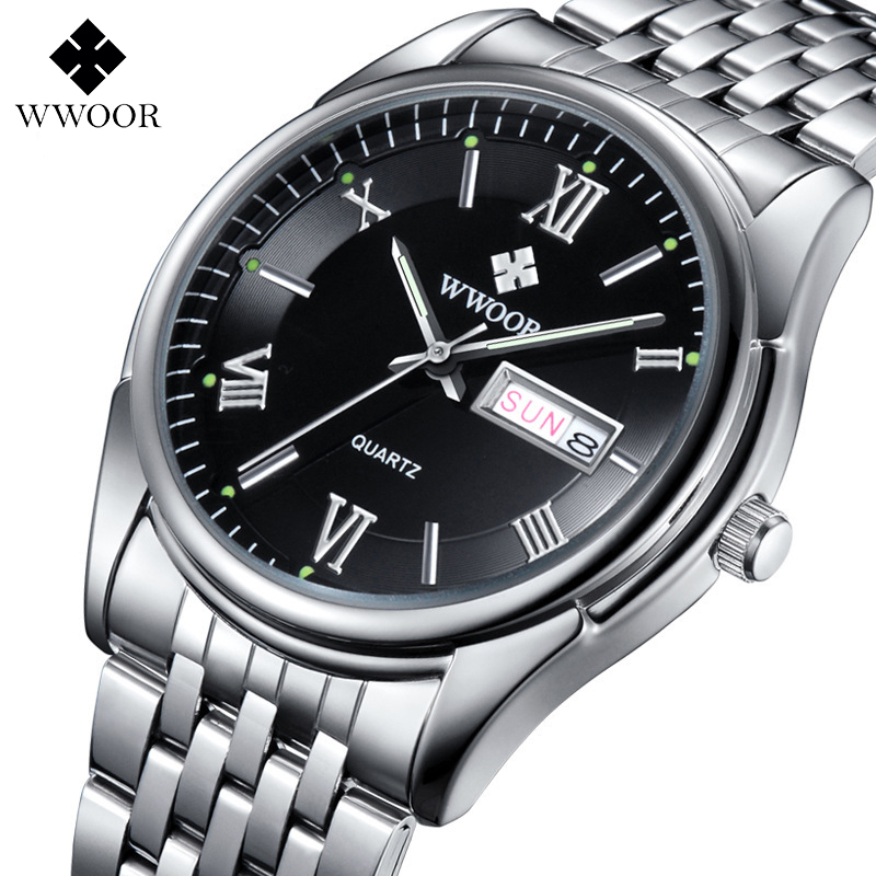 WWOOR Top Brand Men's Watches Auto Date Stainless Steel Back Light Hours Sport Watch Men Casual Quartz Clock Business Wristwatch new arrival 2015 brand quartz men casual watches v6 wristwatch stainless steel clock fashion hours affordable gift