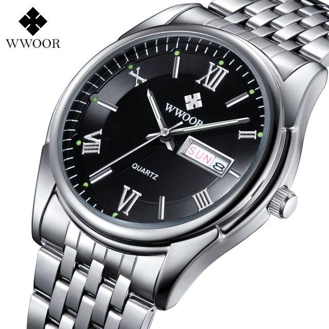 620ecd928 WWOOR أعلى العلامة التجارية الرجال ساعات السيارات تاريخ مطلي معدن من الخلف  ساعات الضوء الرياضة ووتش