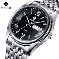 WWOOR Top Brand Men S Watches Auto Date Stainless Steel Back Light Hours Sport Watch Men