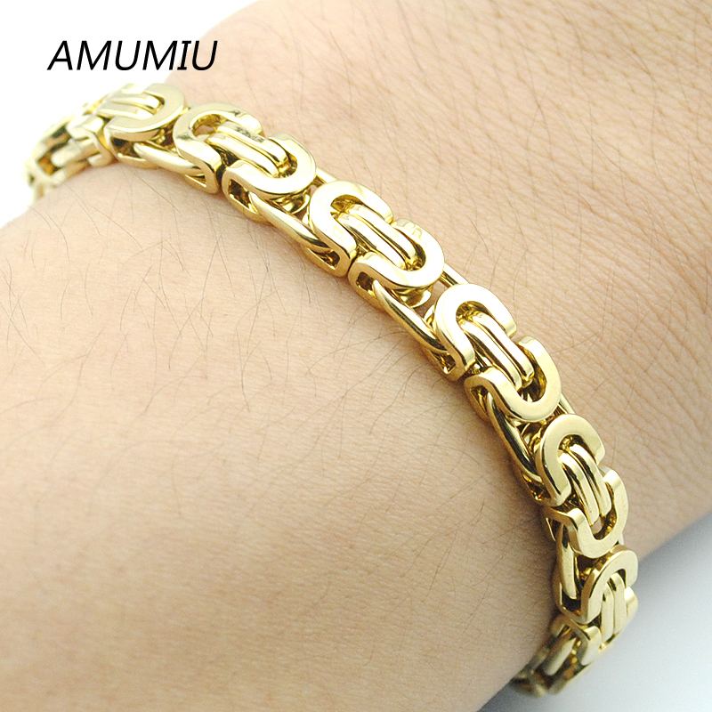 18K Gold Bracelet Byzantine Link Chain 316L Stainless steel 22CM*6MM Mens Bracelets For Women Pulseira Masculina Wholesale HB341