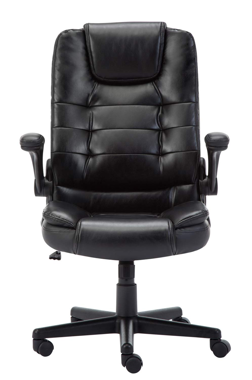 Leather Office Executive Compute Chair With Foldable Arms, Ergonomic Swivel Computer Desk Chair