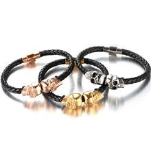 Wholesale Cute jewelry Silver rose Gold Skull Heads Stainless Steel Bracelets Black Genuine Leather Rope Hand