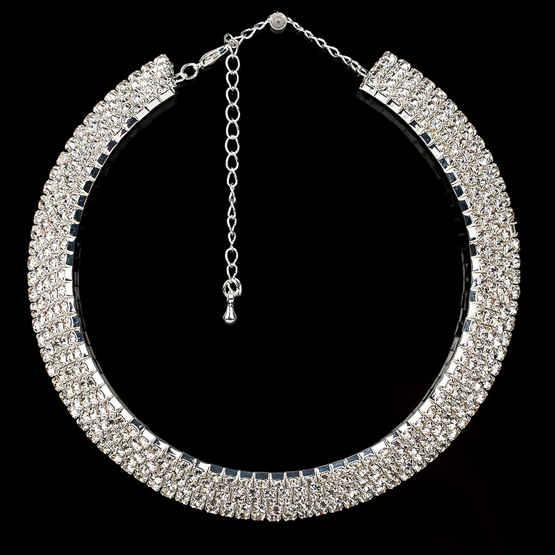 Crystal Rhinestone Necklace Earrings Fashion Jewelry Sets Party - Fashion Jewelry - Photo 3