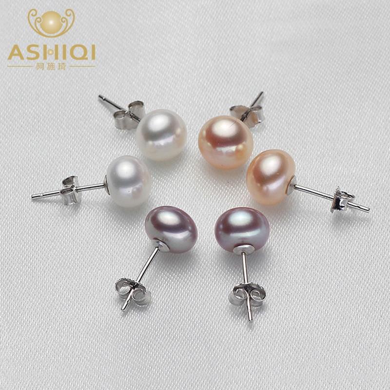 Ashiqi Reale Natürliche Süßwasser Perle Stud Ohrringe 925 Sterling Silber Ohrring Moderne Stilvolle Perlen Schmuck Für Frauen Geschenk üPpiges Design