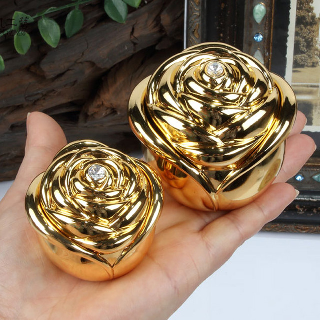 New! Gold Color Wedding Rings Box Engagement Rings Metal Case Zinc-alloy Trinket boxes Rose Flower Design Gift Package
