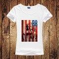 Американский Флаг футболки Женщины Мода Лето Флаг США Круглый с коротким Рукавом Тройники Для Женщин Старинные Мэрилин Монро Печати футболка