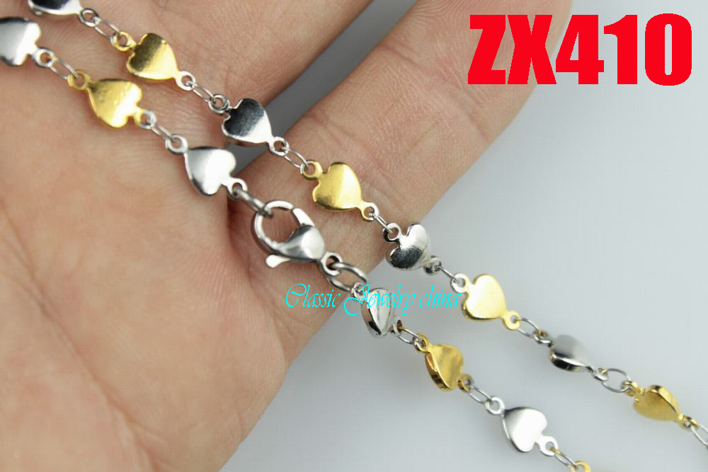 golden color 5 4mm stainless steel necklace heart shaped chain man s lady fashion jewelry 20pcs
