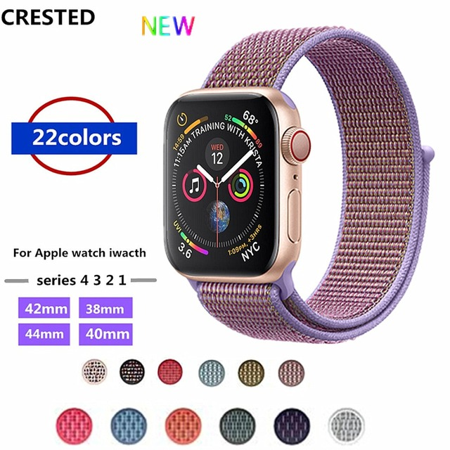 CRESTED Strap For Apple Watch band 4 42mm 38mm 3 iwatch band 44mm 40mm correa Sport Loop Nylon bracelet watch Accessories 3/2/1