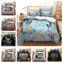 Watercolor flower skull Digital print Bedding Set Quilt Cover Design Bed Set Bohemian a Mini Van Bedclothes 4pcs BE1226(China)