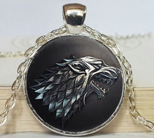 2017 New Trendy House Stark Necklaces Game Of Thrones Pendant Jewelry Wolf Picture Pendants Glass Dome NecklaceHZ1